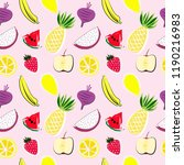 fruits seamless pattern vector... | Shutterstock .eps vector #1190216983