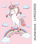 cute magical unicorn skating on ... | Shutterstock .eps vector #1190224033