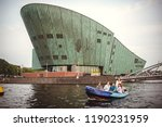 Small photo of Amsterdam, Netherlands - August 1, 2018: The Nemo Museum building on August 1, 2018 in Amsterdam, Netherlands