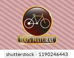 gold badge or emblem with bike ... | Shutterstock .eps vector #1190246443
