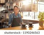 smiling waitress wearing black... | Shutterstock . vector #1190246563