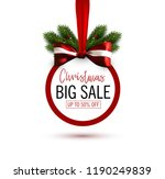 christmas sale sticker with bow ... | Shutterstock . vector #1190249839