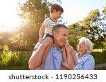 grandparents giving grandson... | Shutterstock . vector #1190256433