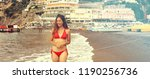 beautiful bikini girl playing... | Shutterstock . vector #1190256736