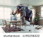 frightened elephant runs from... | Shutterstock . vector #1190258323