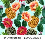 seamless vector floral summer... | Shutterstock .eps vector #1190265316
