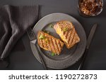 grilled ham and cheese sandwich | Shutterstock . vector #1190272873