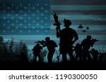 silhouette of military soldiers ... | Shutterstock . vector #1190300050