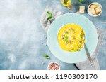 pumpkin parmesan soup wit... | Shutterstock . vector #1190303170