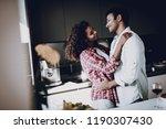 afro american couple is hanging ... | Shutterstock . vector #1190307430