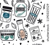 herbs and spices jars seamless... | Shutterstock .eps vector #1190325529