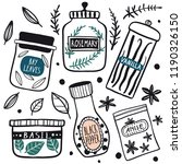 Herbs And Spices Jars Icon Set...