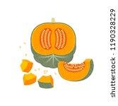 ripe pumpkins illustration....   Shutterstock .eps vector #1190328229
