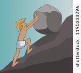 man rolling boulder up a hill ... | Shutterstock .eps vector #1190333296