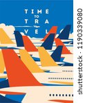 time to travel and airport... | Shutterstock .eps vector #1190339080