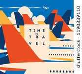 time to travel and airport... | Shutterstock .eps vector #1190339110