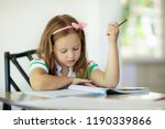 cute little girl doing homework ... | Shutterstock . vector #1190339866