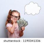 dreaming cute kid girl looking... | Shutterstock . vector #1190341336