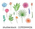 collection of beautiful garden... | Shutterstock .eps vector #1190344426