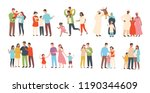 set of happy traditional... | Shutterstock .eps vector #1190344609