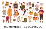autumn set   people holding... | Shutterstock .eps vector #1190345200