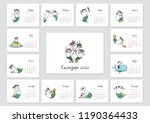 monthly calendar 2020 template... | Shutterstock .eps vector #1190364433