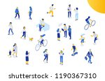 Stock vector different isomeric people vector set isolated on white male and female have outdoor activity in 1190367310