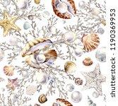 Seashells Seamless Pattern With ...