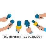 a set of microphones. media tv  ... | Shutterstock .eps vector #1190383039