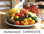 fresh garden tomatoes and...   Shutterstock . vector #1190401576