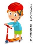 little boy on a scooter in a... | Shutterstock .eps vector #1190406283