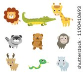 set cute animal cartoons...   Shutterstock .eps vector #1190410693