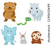 set cute animal cartoons... | Shutterstock .eps vector #1190410699