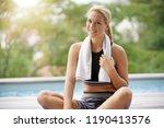 woman doing fitness exercises... | Shutterstock . vector #1190413576