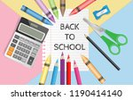 back to school text on... | Shutterstock .eps vector #1190414140