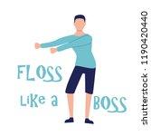 young man dancing popular floss ... | Shutterstock .eps vector #1190420440