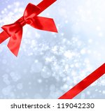 red bow and ribbon with blue... | Shutterstock . vector #119042230