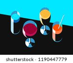 set of wine and cocktail...   Shutterstock .eps vector #1190447779