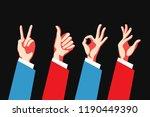 set of hand gestures. victory... | Shutterstock .eps vector #1190449390
