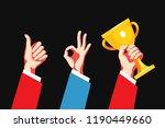 set of hand gestures. victory... | Shutterstock .eps vector #1190449660