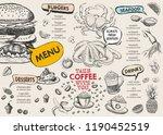 restaurant cafe menu  template... | Shutterstock .eps vector #1190452519