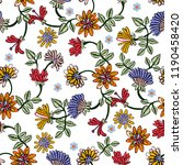 embroidery seamless pattern... | Shutterstock .eps vector #1190458420