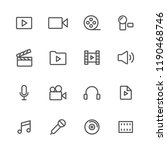 audio video lines icon set | Shutterstock .eps vector #1190468746