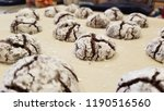 chocolate crinkle cookie close... | Shutterstock . vector #1190516560