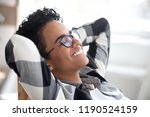 close up relaxed glad african... | Shutterstock . vector #1190524159
