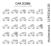 car and vehicle icon set  line... | Shutterstock .eps vector #1190526130