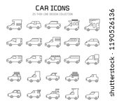 car and vehicle icon set  line... | Shutterstock .eps vector #1190526136