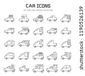 car and vehicle icon set  line... | Shutterstock .eps vector #1190526139