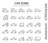 car and vehicle icon set  line... | Shutterstock .eps vector #1190526166