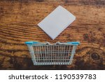 empty shopping basket with... | Shutterstock . vector #1190539783